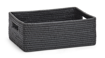 Ashcroft Rectangular Box Tray, Medium, Charcoal