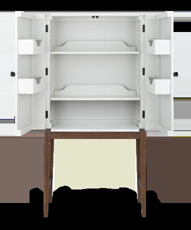 Ardingly, front, doors open, marble, no lower shelf