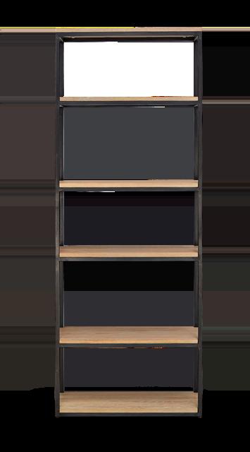 Carter 70 Bookcase Black Steel _ Dark Vintage Oak Front copy