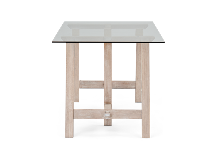 Hebden Trestle Table_Glass Top_Chalked Oak Legs