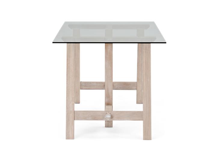Hebden Trestle Table_Glass Top_Chalked Oak Legs