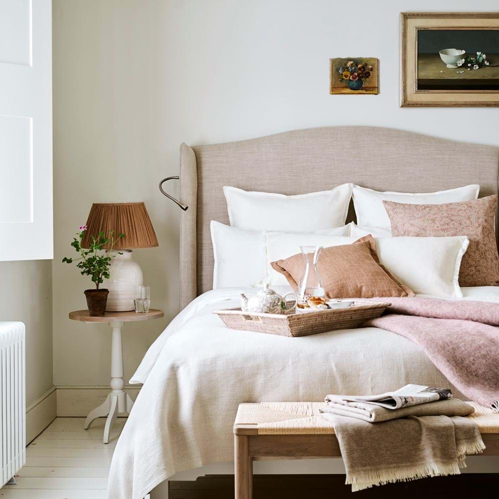 Spring Bedroom with Linen Bedding