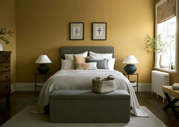 Saffron Paint Emulsion Bedroom Interiors