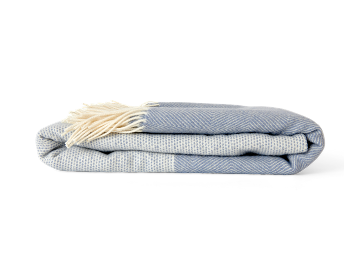 Helmshore throw, flax blue, side