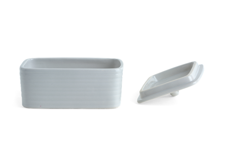 Lewes Butter Dish Grey_Front Lid Off