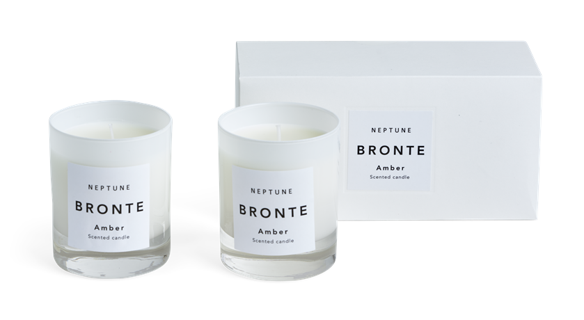 Bronte Amber Scented Candles, White, Set of 2 Box