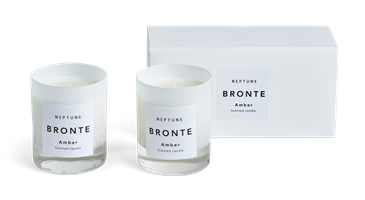 Bronte Amber Scented Candles, White, Set of 2