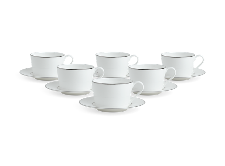 Fenton Tea Cup and Saucer Set of 6 Platinum