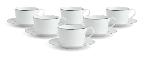 Fenton Tea Cups & Saucers, set of 6, Platinum
