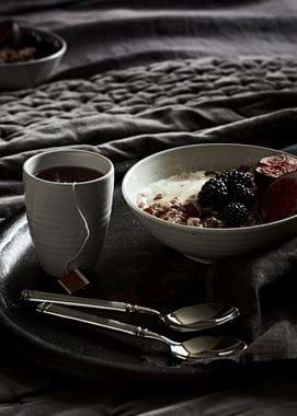 Granola Breakfast Tray and Tea Close