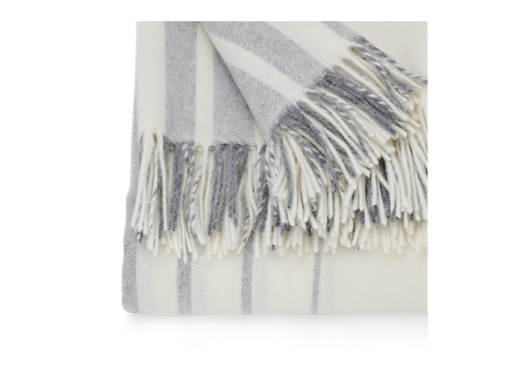 Cley Stripe Throw Pebble_Edge Detail