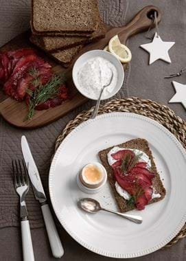Neptune food, beetroot cured salmon on rye