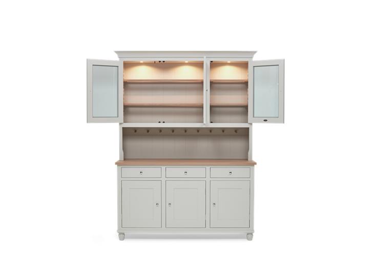 Suffolk 5ft glazed Dresser Silver Birch Front Open Lights INNER ┬® Robert Smith 2020