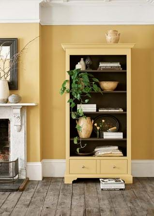 Chichester Open Shelving Saffron Yellow Tone on Tone Painted Bookcase
