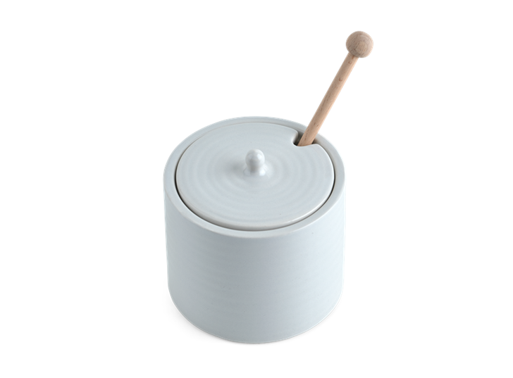 Lewes Pot with Wooden Drizzler Grey_Top