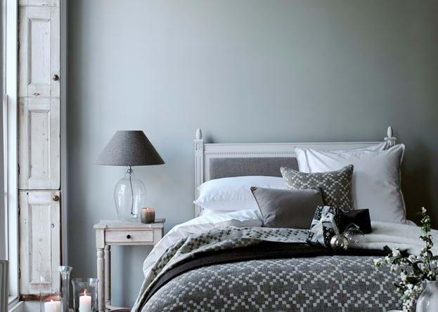 Winter bedroom candles lit