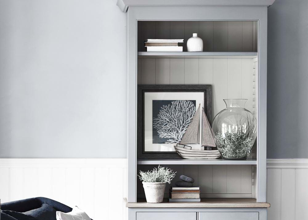 Chichester Open Bookcase Shelf Styling Coastal Nordic Tongue and Groove