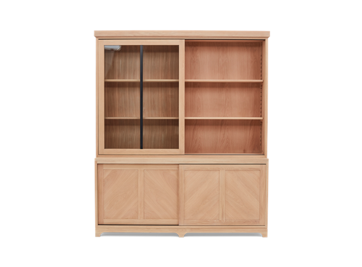Holborn 6ft Glazed Dresser Natral Oak 010