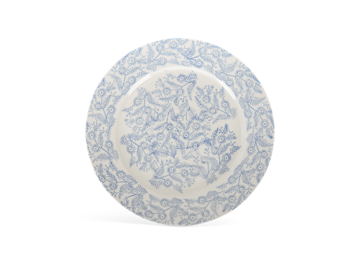 Olney dessert plate, flax blue_above