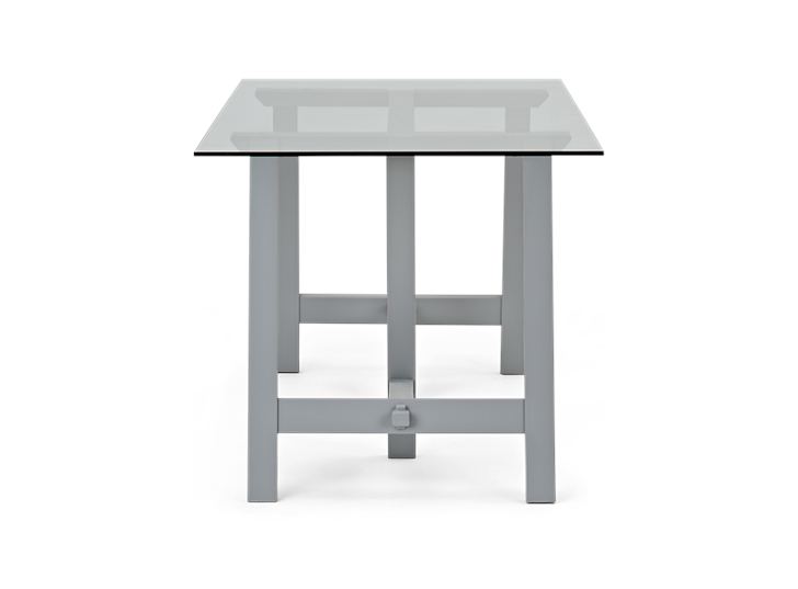 Hebden 150 Trestle Table_Glass Top_Fog Legs_Side