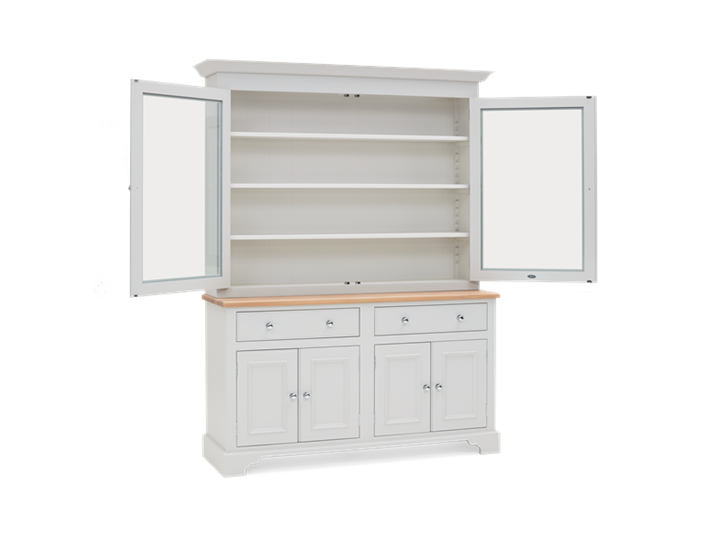 Chichester 5ft Glazed Rack Dresser Top Doors Open