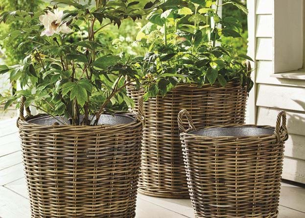 Tetbury Wicker Zinc Lined Planters Small Medium Large