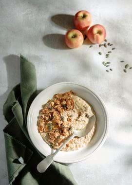 Neptune food,baked apple and hazelnut porridge