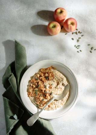 Neptune food,baked apple and hazelnut porridge