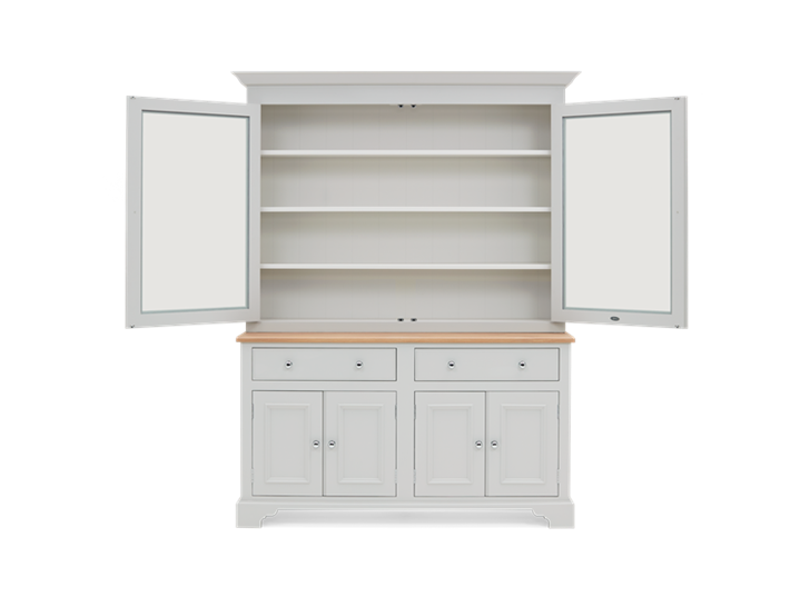 Chichester 5ft Glazed Rack Dresser Top Front Doors Open