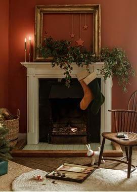 Christmas morning fireplace WEB