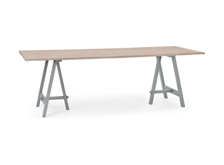 Hebden 230 Trestle Table_Chalked Oak Top_Fog Legs