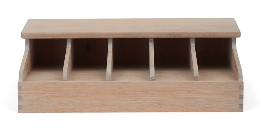 Southwold 5 Bay Divided Cutlery Organiser_Seasoned Oak_Front_crop