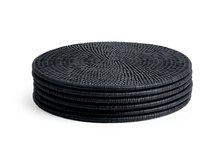 Ashcroft Round Placemat Set of 6 Charcoal_Stack
