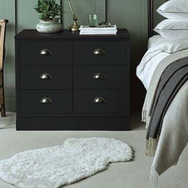 Tussock sheepskin and Chawton bedroom side table