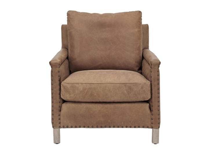 Caspar Armchair_St James Aged Tan_Leather_Front