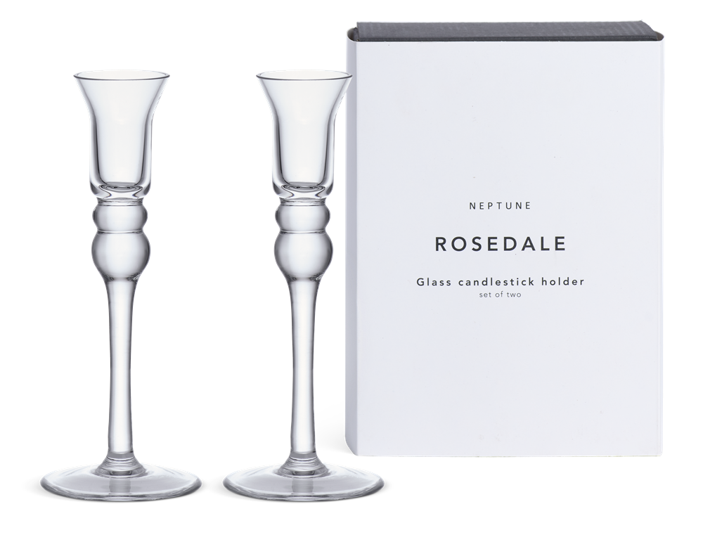 Rosedale Glass Candlestick, Set of 2