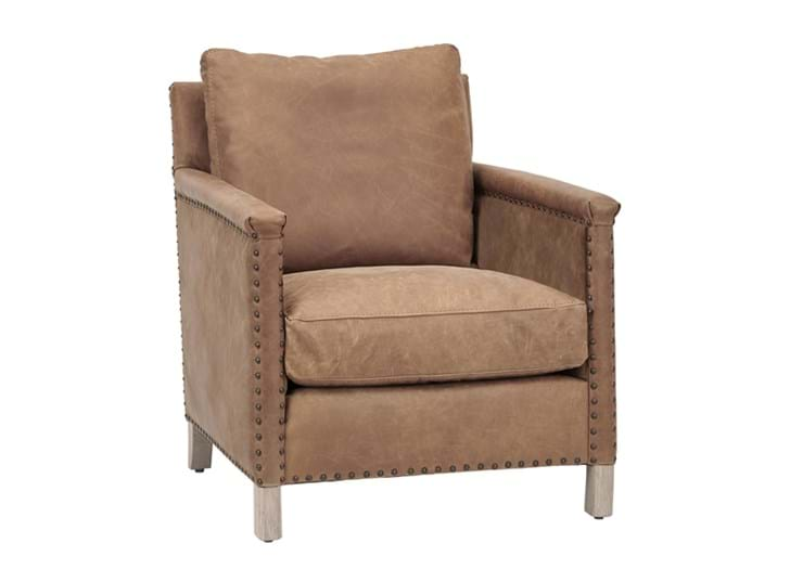Caspar Armchair_St James Aged Tan_Leather_3Quarter