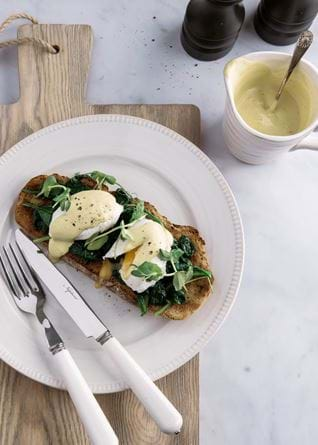 Neptune food, poached eggs and cashew hollandaise