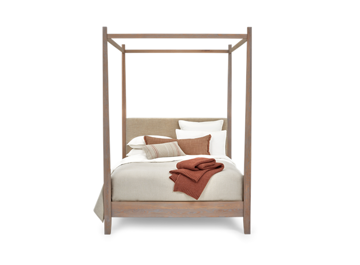 Wardley King Four Poster Chalked Oak Holkam Sand Styled Front