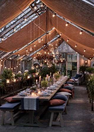 Greenhouse Gathering at Dusk Garden Lighting