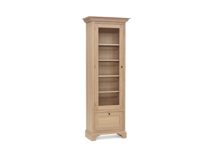 Henley Narrow Glazed Oak Cabinet Left 3Q