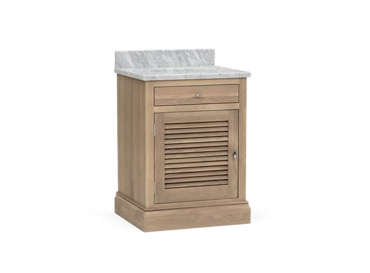 Edinburgh 640 Undermount Washstand With Basin Left-Door-VO-Vintage Oak 3Q 01