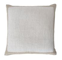 Clementine Square Cushion 57x57cm, White & Stone