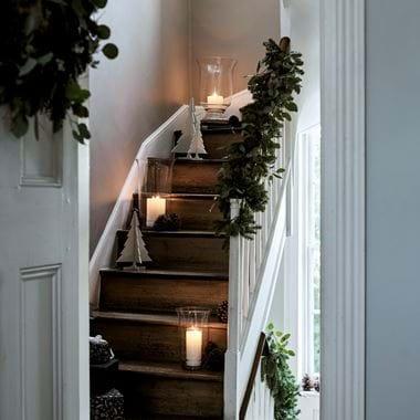Christmas stairway Pine garland