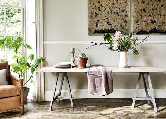 Hebden Trestle Table_Oak Top_Fog Legs