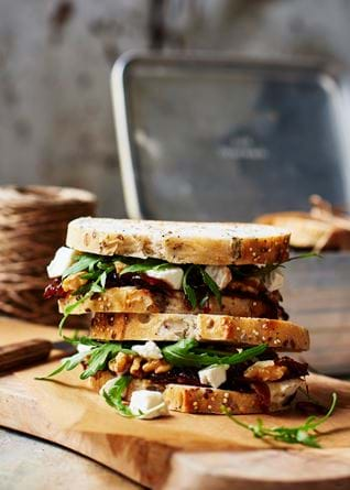 Goats cheese and red onion marmalade sandwich