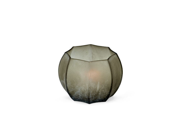 Alconbury ridged tealight holder 1 grey_front candle on