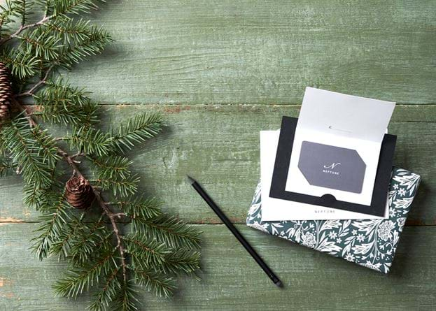 Gift Card and Pine Branch with Present Open