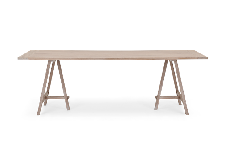 Hebden 230 Trestle Table_Chalked Oak Top_Chalked Oak Legs