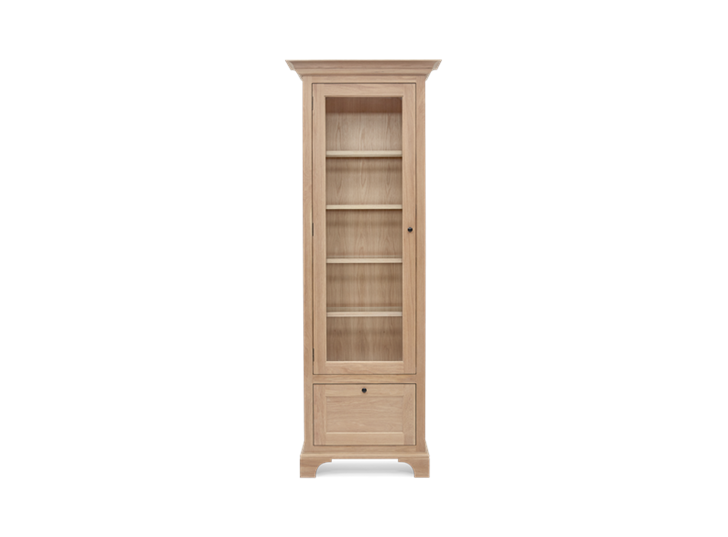 Henley Narrow Glazed Oak Cabinet Left Front